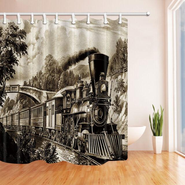 Retro Steam Locomotive Train Fabric Shower Curtain