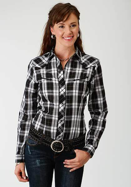Roper damen X-LARGE schwarz Weiß Plaid Rosa Embroider Western Casual Show Shirt