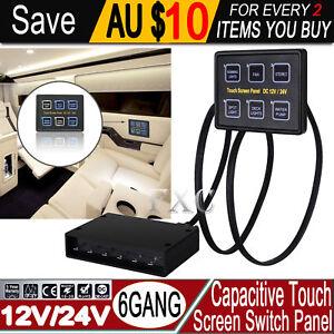 6-Gang-LED-Back-Capacitive-Touch-Screen-Marine-Boat-Caravan-Switch-Panel-12V-24V