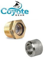 3/4 Npt Brass Sight Glass And 316 Stainless Weld Bung Gas Oil Tank Coyote Gear
