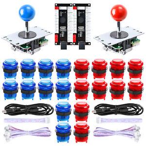 2 Player Arcade MAME DIY Kits Encoder Board /& 8 Way Joystick 20 x Buttons