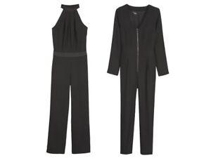 Jumpsuit-for-Ladies-Black-Zip-Pocket-Size-8-10-12-14-16-18-Designed-Heidi-Klum