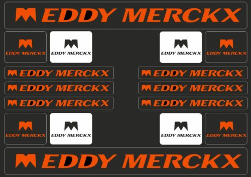 EDDY MERCKX Road Bicycle Frame Decal Sticker Graphic Set Adhesive Vinyl Orange