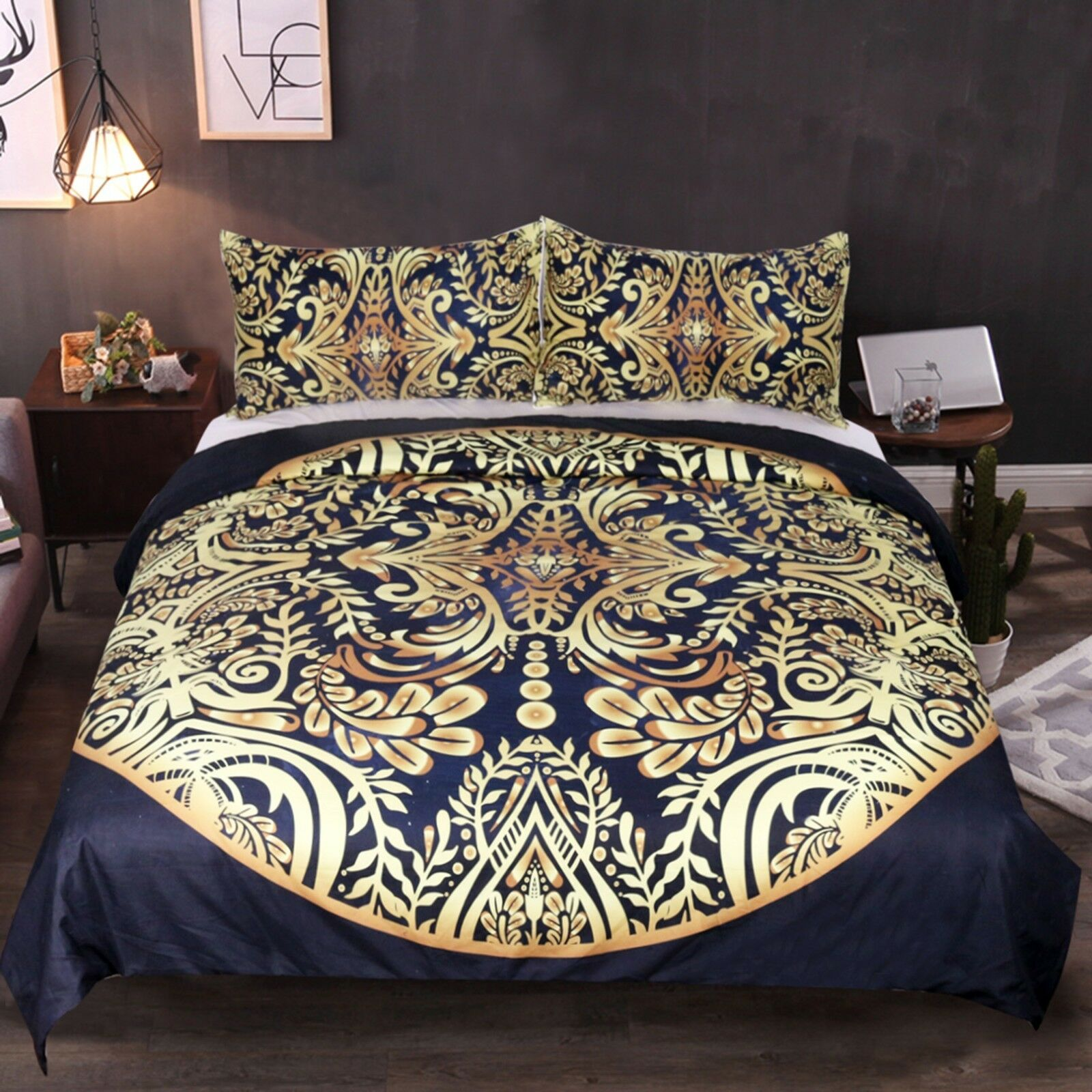 3D Golden Pattern 53 Bed Pillowcases Quilt Duvet Cover Set Single Queen King AU