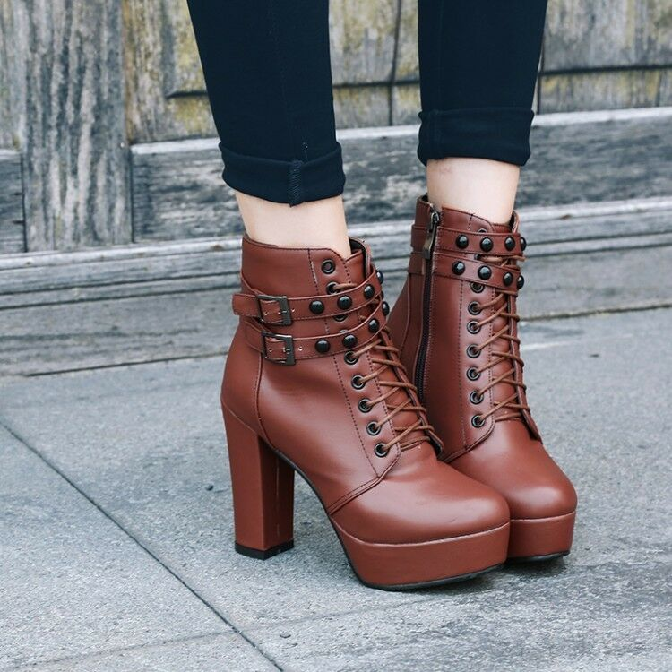 Women's Ankle Boots Block High Heels Platform Lace-up High Top Leather shoes New