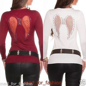 Sexy-Pullover-in-maglia-felpa-con-angelo-ali-e-Strass-UK-8-10
