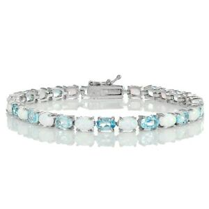 Sterling-Silver-Blue-Topaz-and-Created-White-Opal-6x4mm-Oval-Tennis-Bracelet