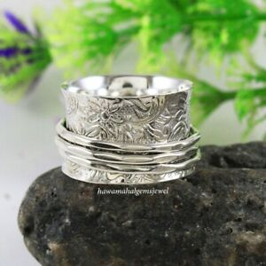925 Solid Sterling Silver Handmade Designer Spinner Ring Silver Band Jewelry