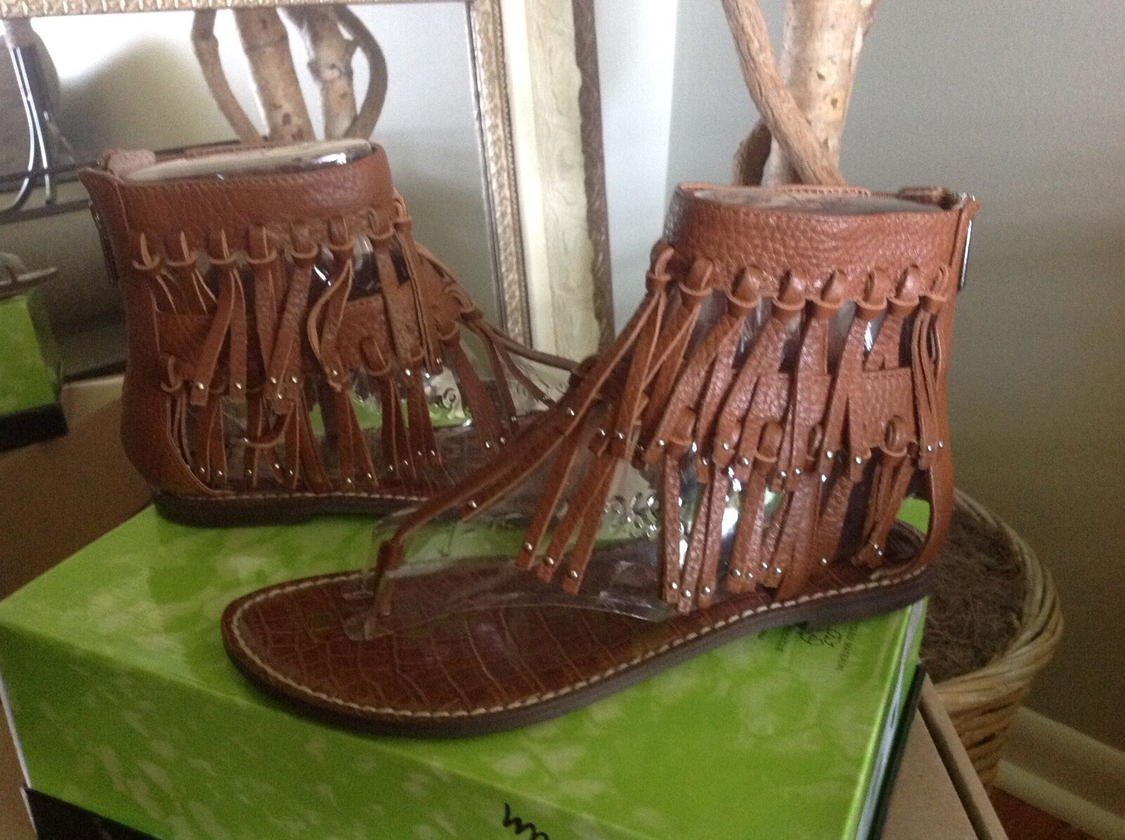 Sam Edelman Griffen WOMENS Saddle Brown Leather Fringe Sandal Thong 7.5M