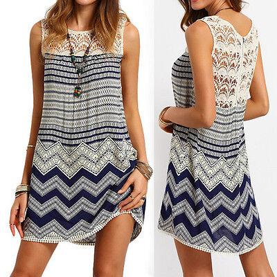 Womens Sexy Summer Beach Casual Lace Sleeveless Evening Party Short Mini Dress