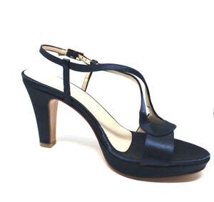 Scarpe-cerimonia-donna-BLU-sandali-tacco-medio-cuoio-made-in-Italy-shoes-laether