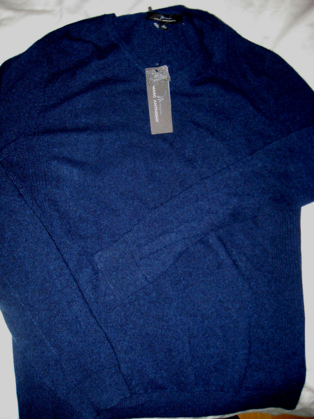 MARC ANTHONY LUXURY SOFT CASHMERE schweißER-RIBBED SIDES-MIDNIGHT Blau- 160-NWT- L