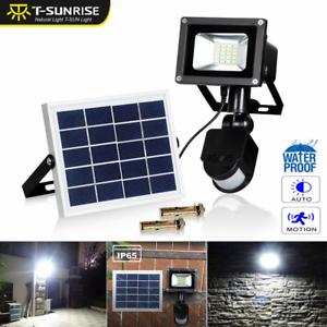 Solar Motion Sensor Flood Spot Light 10W Outdoor Waterproof LED Garden Yard Lamp