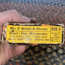 Vintage Brown Amp Sharpe Straight Line Micrometer 0 1 No 599 3 Usa Made
