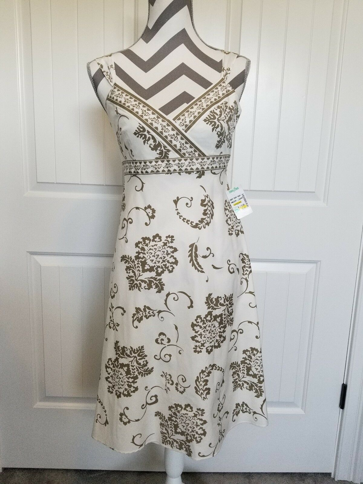 51613c31bc0 NWT Isabella DeMarco Dress Size 2 Ivory And Taupe Wide Strap Party Wedding