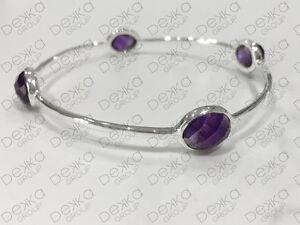 925-Sterling-Silver-Bangle-Bracelet-Gemstones-Amethyst-Semi-Precious-Medium-Size
