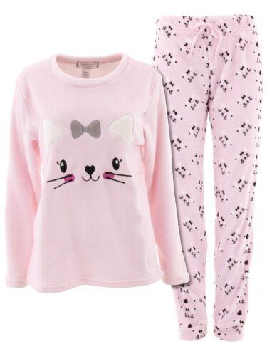 Inteco Intimates Juniors Pink Cat Plush Fleece Long Sleeved Pajamas