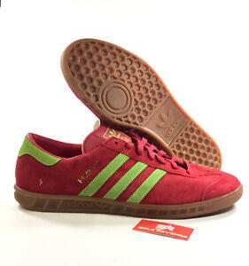 607c03434fdbd New adidas Originals Mens Hamburg Shoes Red Beauty Green Gum Lime ...