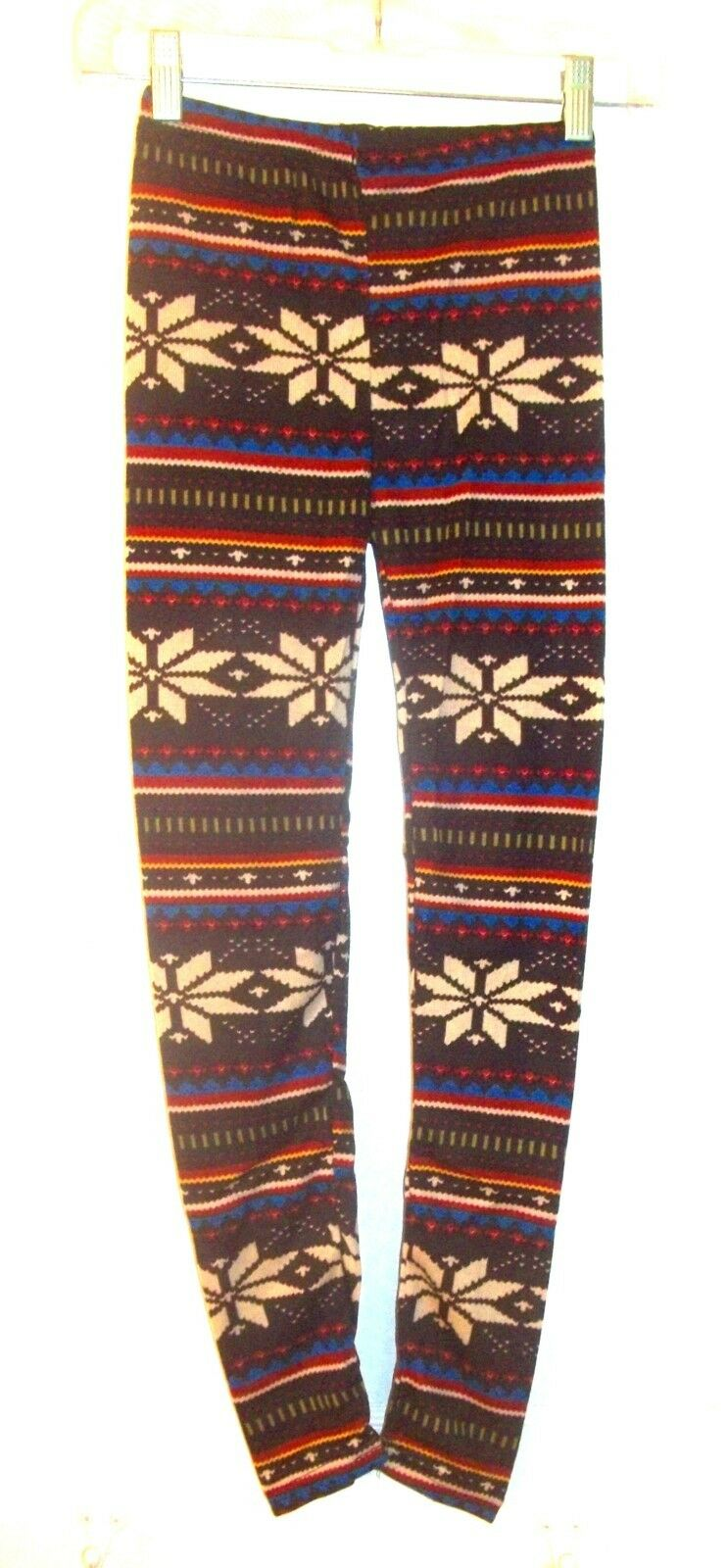 Brown with Ivory, Red & bluee Nordic Print Thin Knit Leggings One Size 2XS to PM