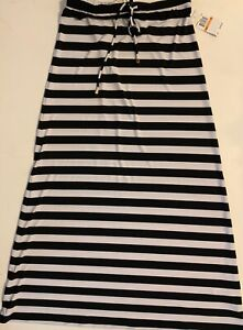 Michael-Kors-Black-White-Striped-Maxi-Long-Skirt-Pull-On-Stretch-Size-S-NWT
