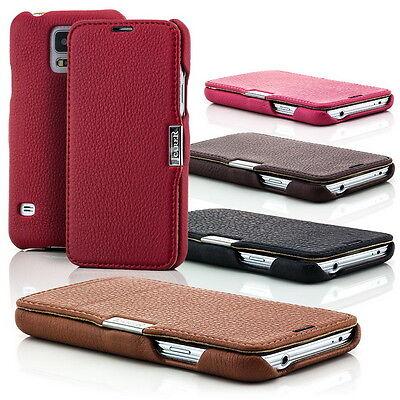 Echt Leder Tasche für Samsung Galaxy S5 G900 Schutz Hülle Case Cover Etui Schale