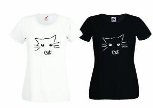 T-SHIRT DONNA COLLO BARCA WOMAN GATTO OCCHIALI FUNNY CAT GLASSES IDEA REGALO