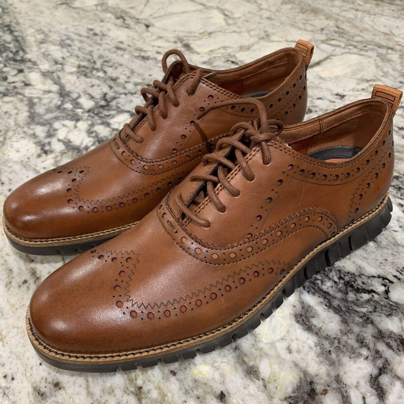 Cole Haan zerogrand Bout D'Aile Oxford in British Tan Dark Java Sz US 8.5 Hommes C24964