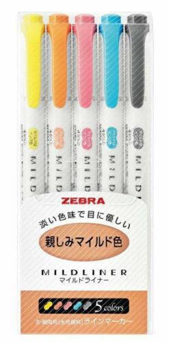5-Full Sets Zebra Mildliner Double-Sided Fine//Bold Soft 25-Colors Highlighters