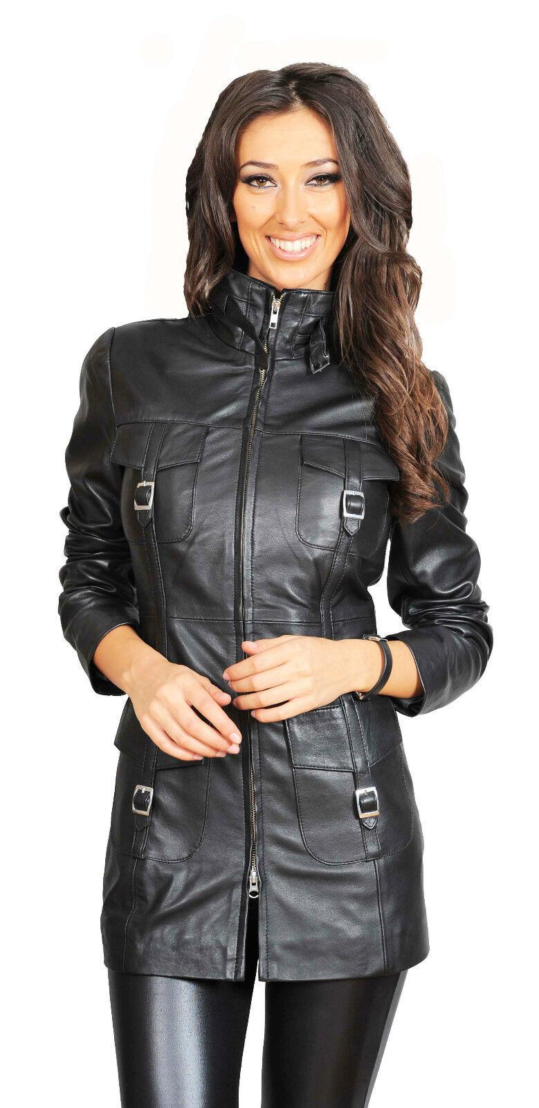 Damas Abrigo De Cuero Negro 3 4  armarios para Mujer de Moda último Cocheol Chaqueta De Cuero  tienda de venta en línea