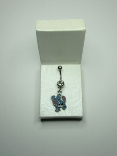 Brand New Disney World Stitch Double Sided Charm on Surgical Steel Belly Bar
