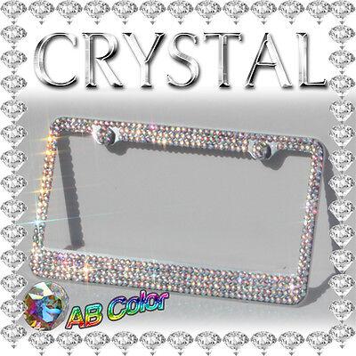 AB Crystal Diamond Bling Rhinestone Metal License Plate Frame with 2 Screw Caps