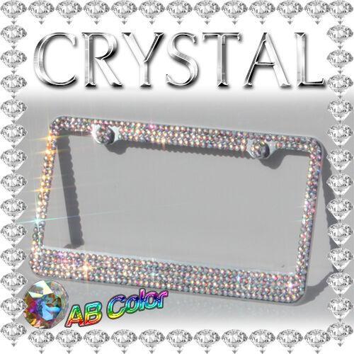 Multi Crystal Color Diamond Bling Rhinestone Metal License Plate Frame AAA+