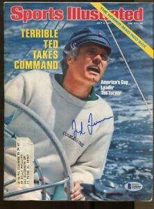 Ted Turner Signed Sports Illustrated 7/4/1977 Autograph America's Cup Beckett *4