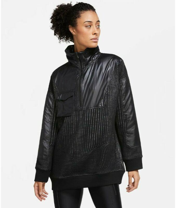 Nike Womens City Ready 1/4 Zip Training Jacket Size Medium Cv0303 010 Black Nwt Last Style