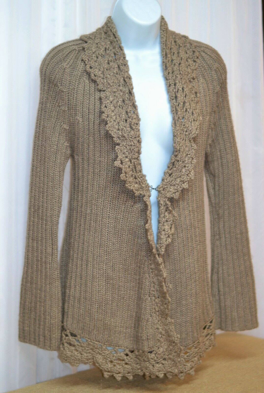 KENAR OPEN FRONT LONG SWEATER AMAZING DETAIL BROWN  S NEW