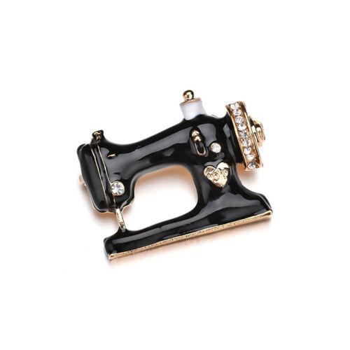 Vintage Brooch Style Crystal Sewing Machine Enamel Gift Pin Metal FG