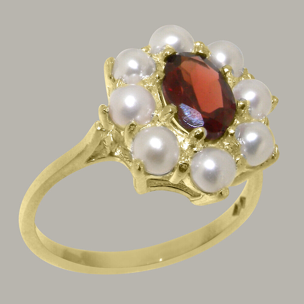 9ct Yellow gold Natural Garnet & Full Pearl Womens Cluster Ring - Sizes J to Z