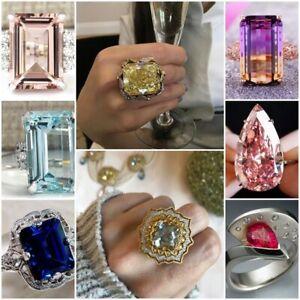 Huge-Princess-Cut-Aquamarine-amp-Ruby-925-Silver-Women-Wedding-Bridal-Ring-Size-6-10