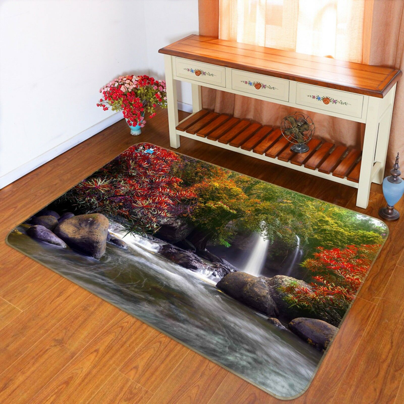 3D Stream Maple Tree 239 Non Slip Rug Mat Quality Elegant Photo Carpet US Cobb