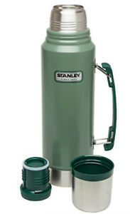 CLEAN Vacuum Thermos Bottle Coffee Green Stanley Hammertone 1.1 Qt Stainless