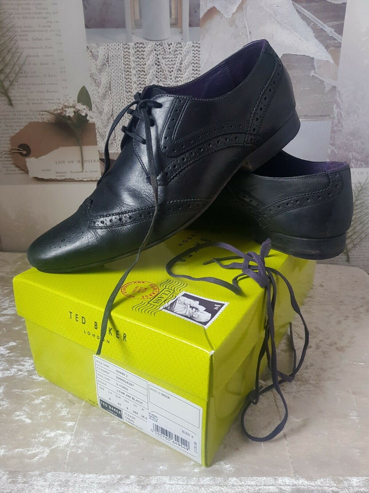 * Ted Baker Mens Hann 2 Derby Black Leather Brogue Shoes UK 8 EUR 42 USA 9 Boxed