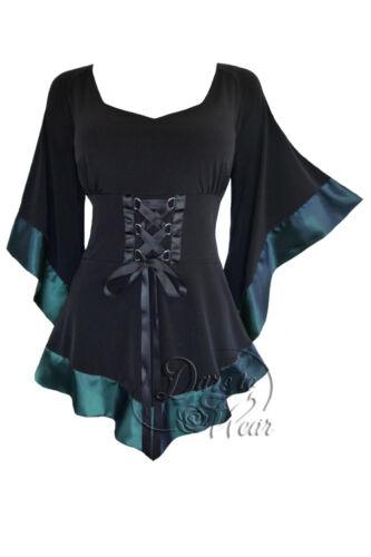 Plus Size Black Teal Blue Gothic Renaissance Treasure Corset Top 1X 2X 3X 4X 5X