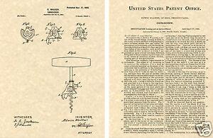 1900-Walker-Bell-Corkscrew-US-Patent-Art-Print-READY-TO-FRAME-Vintage-Opener
