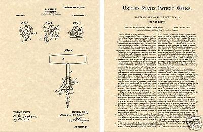 1900 Walker Bell Corkscrew US Patent Art Print READY TO FRAME!!! Vintage Opener