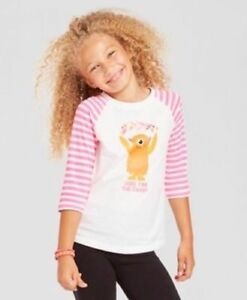 Cat-amp-Jack-Girls-Size-L-10-12-Halloween-Shirt-Monster-034-Here-For-The-Candy-034-NWT