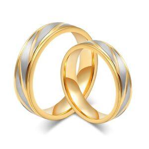 2 Edelstahl Verlobungsringe Partnerringe Freundschaftsringe Gold Zirkonia