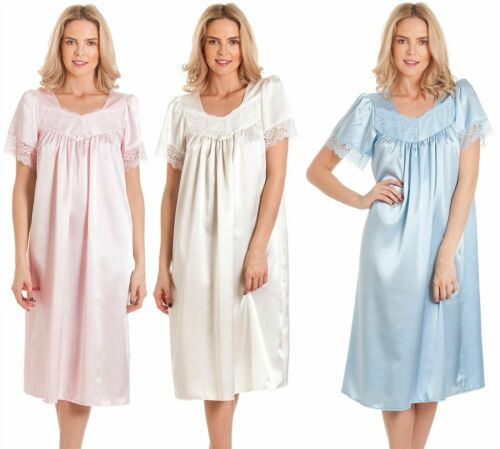 Donna a maniche corte Satin//Lace Camicia da Notte Nightwear in tre colori pastello