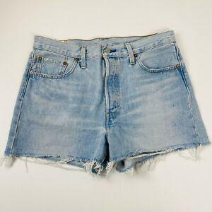 Levi-039-s-Premium-BIG-E-501-Ladies-Denim-Shorts-Frayed-Cutoff-Size-29