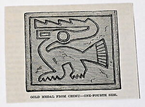 small 1883 magazine engraving ~ GOLD MEDAL FROM CHIMU, Peru