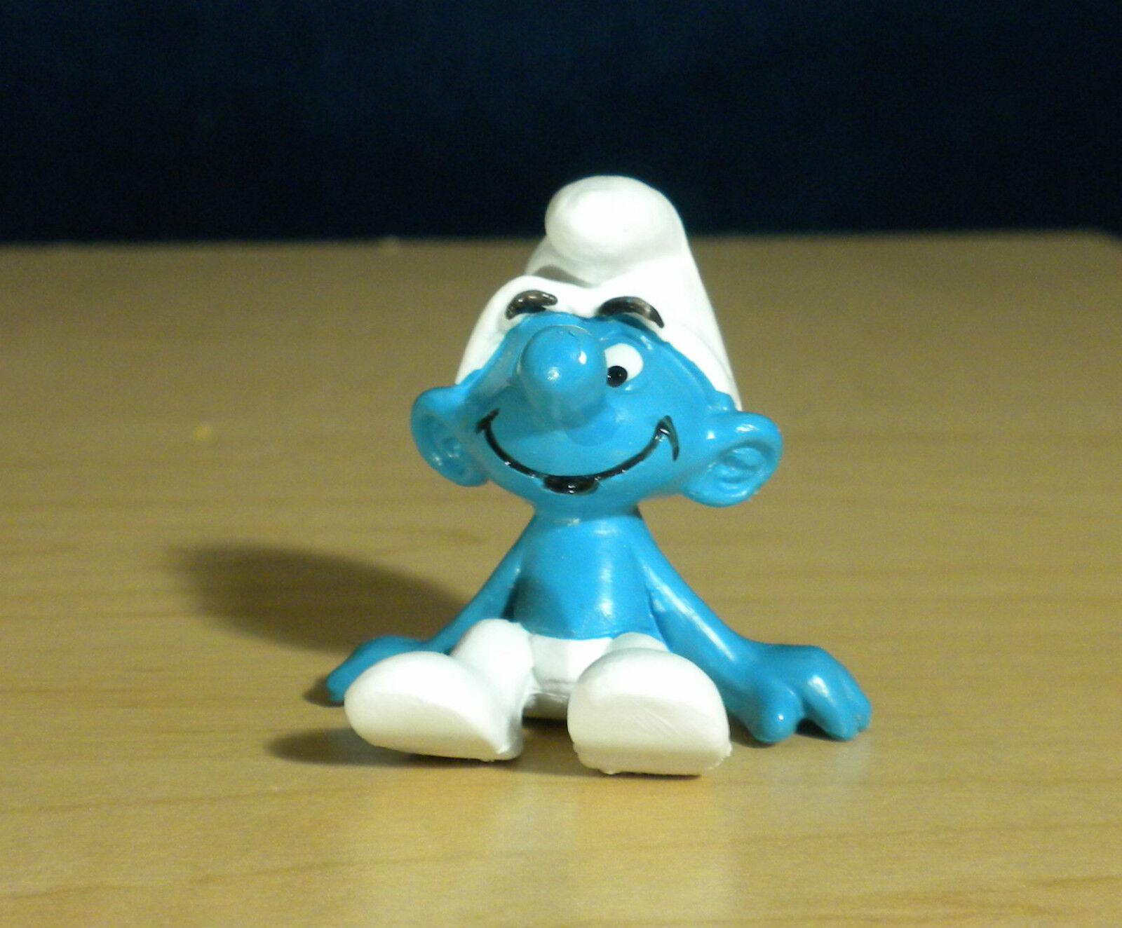 Smurfer 20026 Sittande smurf Sitter Sällsynt årgång Figur PVC leksak Figur 1979 Peyo